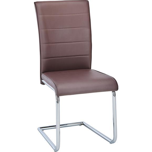 Nihajni Stol Luisa - krom/rjava, Konvencionalno, kovina/tekstil (45,5/96/62cm) - Modern Living