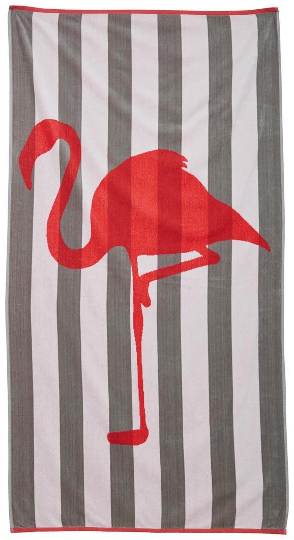 Strandtuch Flamingo Streif 90x180 cm - Pink/Grau, Textil (90/180cm) - Mömax modern living