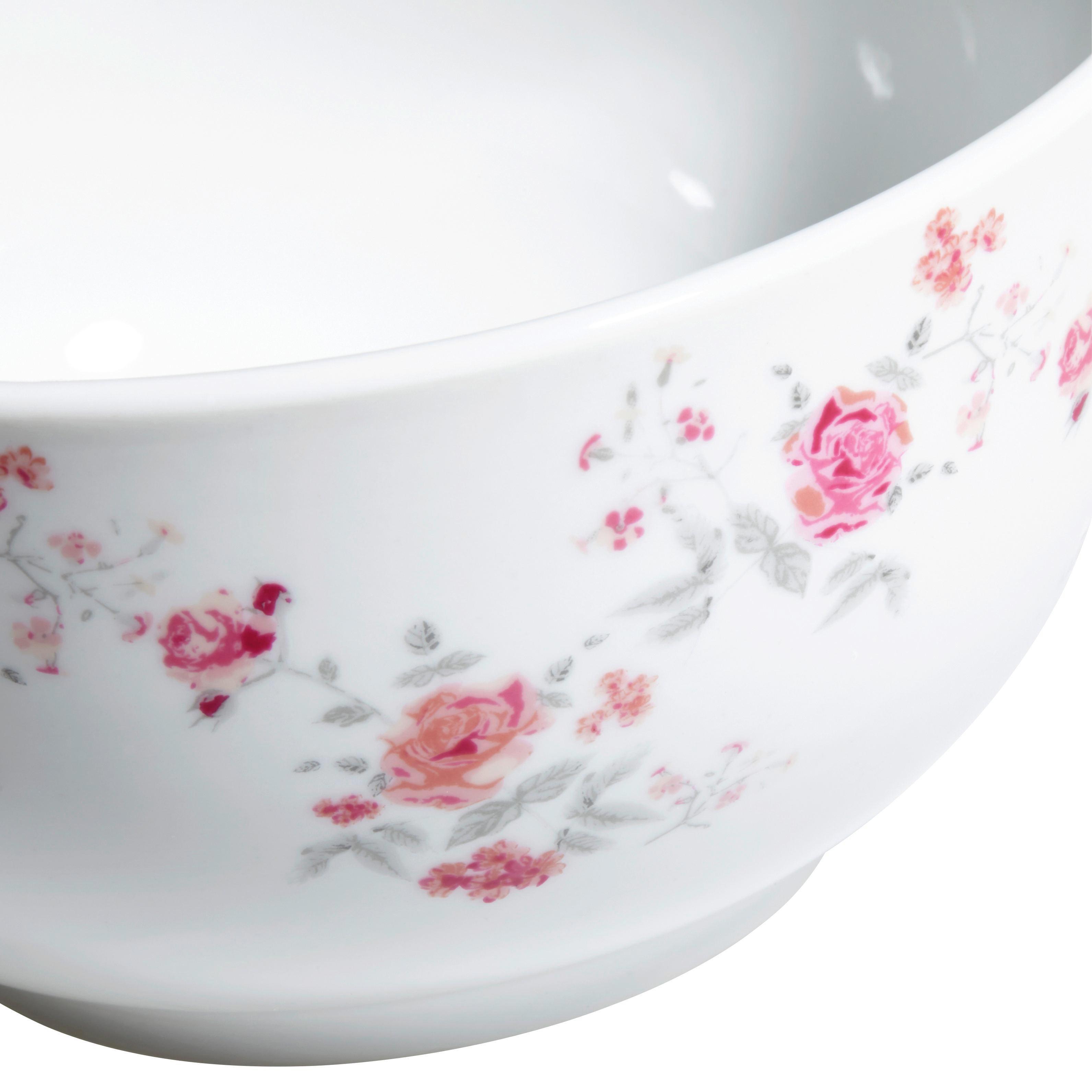 Müslischale Roseanne mit Rosen Motiv - Pink/Grau, ROMANTIK / LANDHAUS, Keramik (14,5/7cm) - ZANDIARA