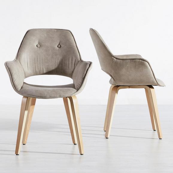 Armlehnstuhl Nadia - Hellbraun/Braun, MODERN, Holz/Textil (63/85/60cm) - MÖMAX modern living