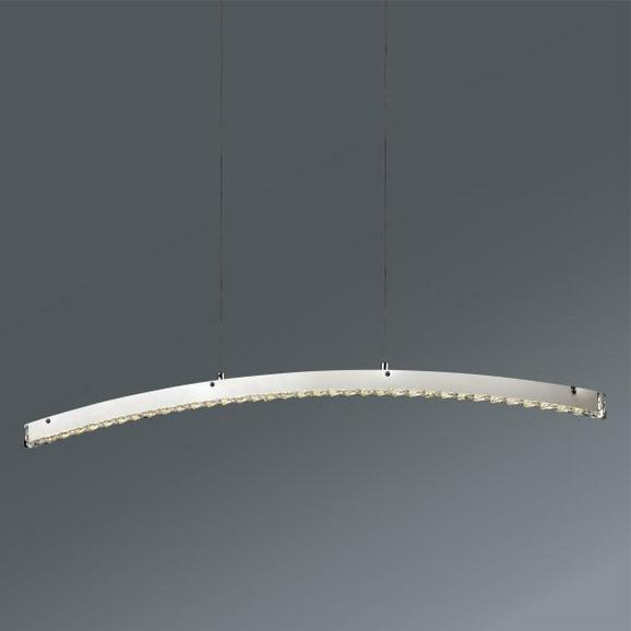 Hängeleuchte Elias in Chrom, max. 20 Watt - Chromfarben, MODERN, Kunststoff/Metall (100/120cm) - Mömax modern living