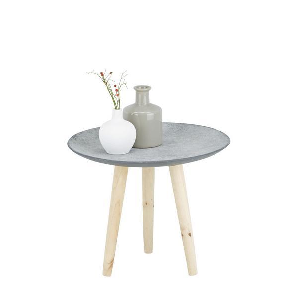 Beistelltisch in Grau/Natur aus Echtholz - Naturfarben/Braun, Holz/Holzwerkstoff (44/35,5/44cm) - MÖMAX modern living