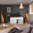 Lowboard in Weiß/Eichefarben - Eichefarben/Silberfarben, MODERN, Holzwerkstoff/Kunststoff (210/105/40cm) - Mömax modern living