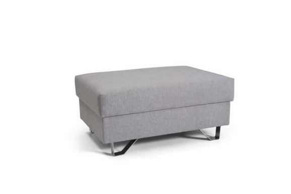 Hocker Hellgrau - Chromfarben/Hellgrau, MODERN, Textil/Metall (64/43/92cm) - Premium Living
