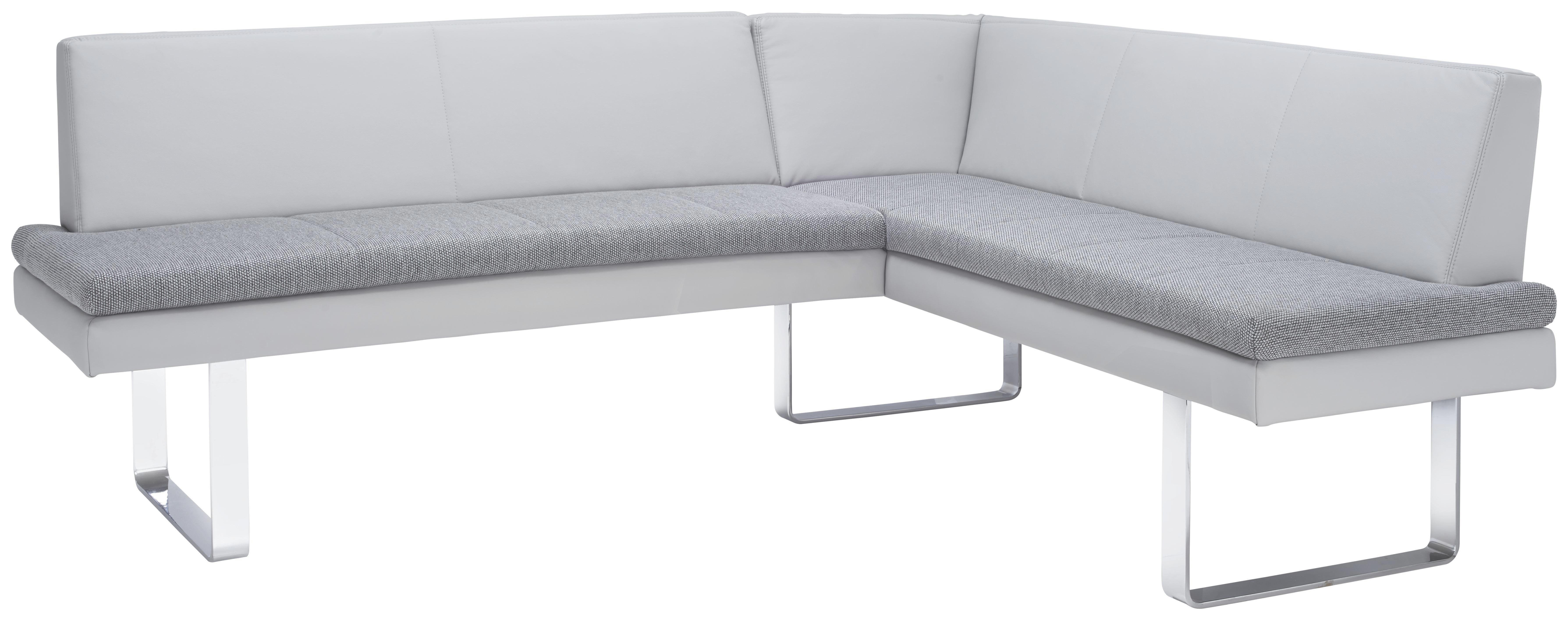 Eckbank in Grau - Chromfarben/Grau, MODERN, Textil/Metall (208/170cm) - PREMIUM LIVING
