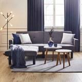 Sofa in Grau mit Bettfunktion inkl. Ottomane - Schwarz/Grau, MODERN, Holz/Textil (223/88,5/81cm) - Bessagi Home