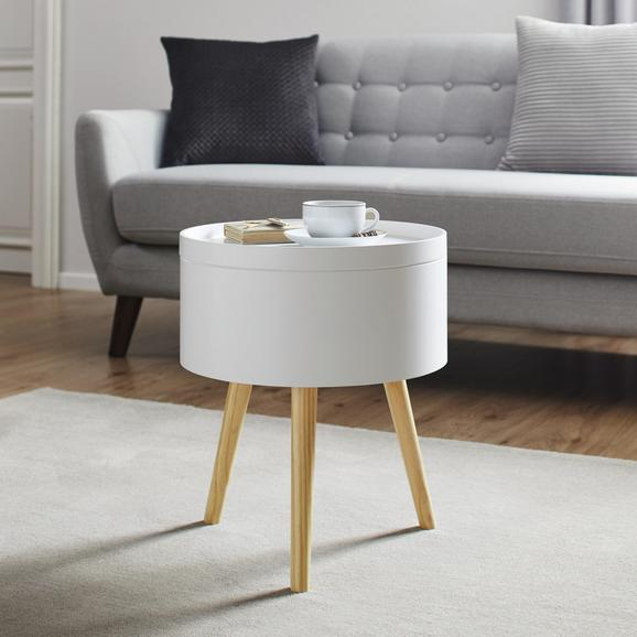 Couchtisch Daria mit Stauraum ca.38x45cm - Weiß/Pinienfarben, MODERN, Holz (38/45cm) - Modern Living