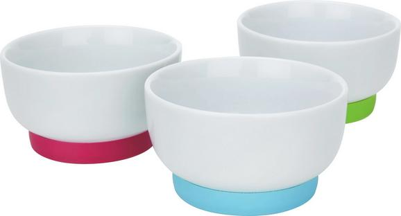 Dipschalenset Fini in Weiß, 3-tlg. Set - Türkis/Pink, KONVENTIONELL, Keramik/Kunststoff (9,6/4,8cm) - Mömax modern living