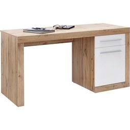 Schreibtisch Weiß/Eichefarben   Eichefarben/Alufarben, MODERN,  Holzwerkstoff/Kunststoff (150