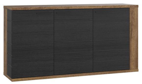 Komoda Lacjum - črna/hrast, Konvencionalno, kovina/umetna masa (161,5/85,1/41,6cm) - Mömax modern living