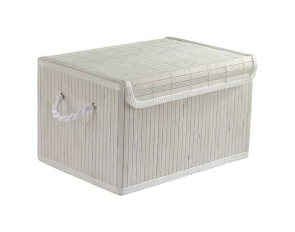 Košara Bamboo White - bela, tekstil/les (36/26/22cm) - Mömax modern living