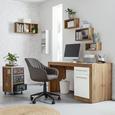 Schreibtisch Weiß/Eichefarben - Eichefarben/Alufarben, MODERN, Holzwerkstoff/Kunststoff (150 76 60cm) - Mömax modern living