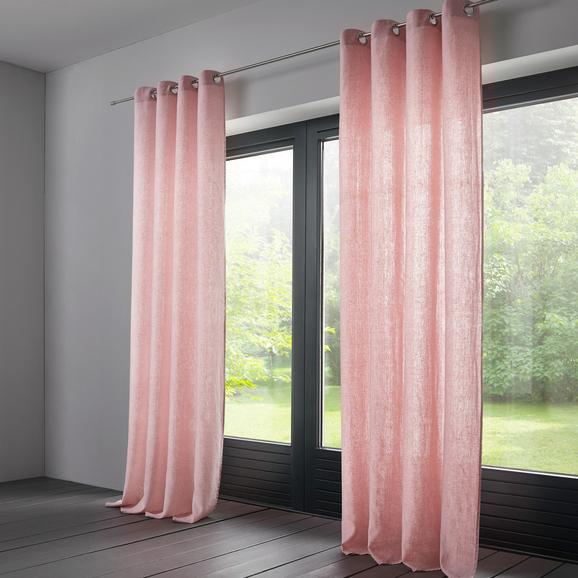 Vorhang Elena aus Leinen ca. 140x245cm - Rosa, KONVENTIONELL, Textil (140/245cm) - Mömax modern living