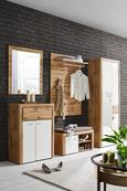 Garderobenbank in Weiß/Eiche - Eichefarben/Silberfarben, MODERN, Holzwerkstoff/Kunststoff (90/48/37cm) - Premium Living
