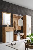Schuhschrank Weiß/Eichefarben - Eichefarben/Silberfarben, MODERN, Holzwerkstoff/Kunststoff (75/102/38cm) - Premium Living