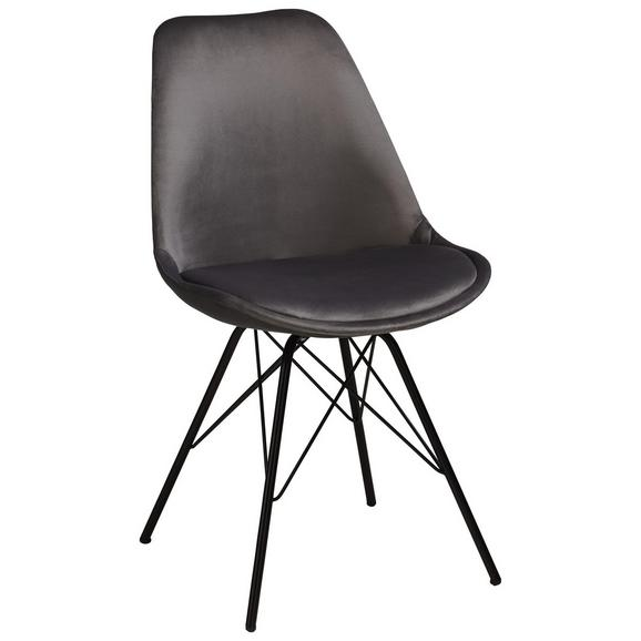 Stuhl aus Samt in Grau/Schwarz - Schwarz/Grau, MODERN, Textil/Metall (48/86/55,5cm) - Modern Living