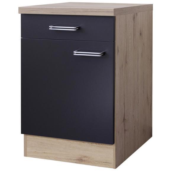 Küchenunterschrank Anthrazit/Eiche - Edelstahlfarben/Eichefarben, MODERN, Holzwerkstoff/Metall (60/86/60cm) - FlexWell.ai