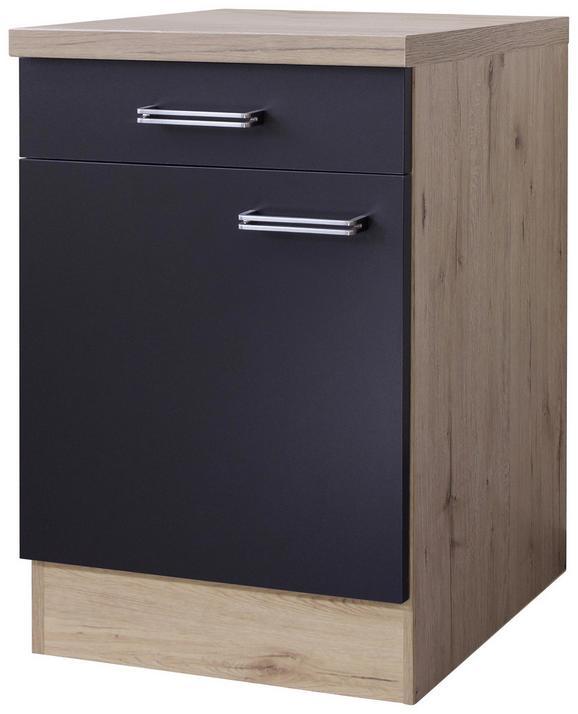 Küchenunterschrank Anthrazit/Eiche - Edelstahlfarben/Eichefarben, MODERN, Holzwerkstoff/Metall (60/86/60cm)