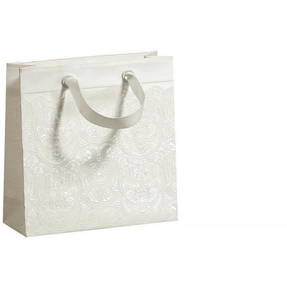 Geschenktasche Ornament in Weiß - Weiß, ROMANTIK / LANDHAUS, Papier (15/15/5,5cm)