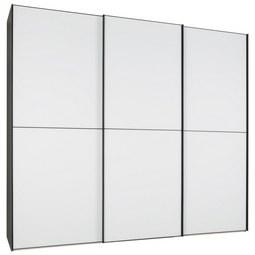 Schwebetürenschrank in Hellgrau - Hellgrau/Schwarz, KONVENTIONELL, Glas/Holzwerkstoff (249/222/68cm) - Premium Living