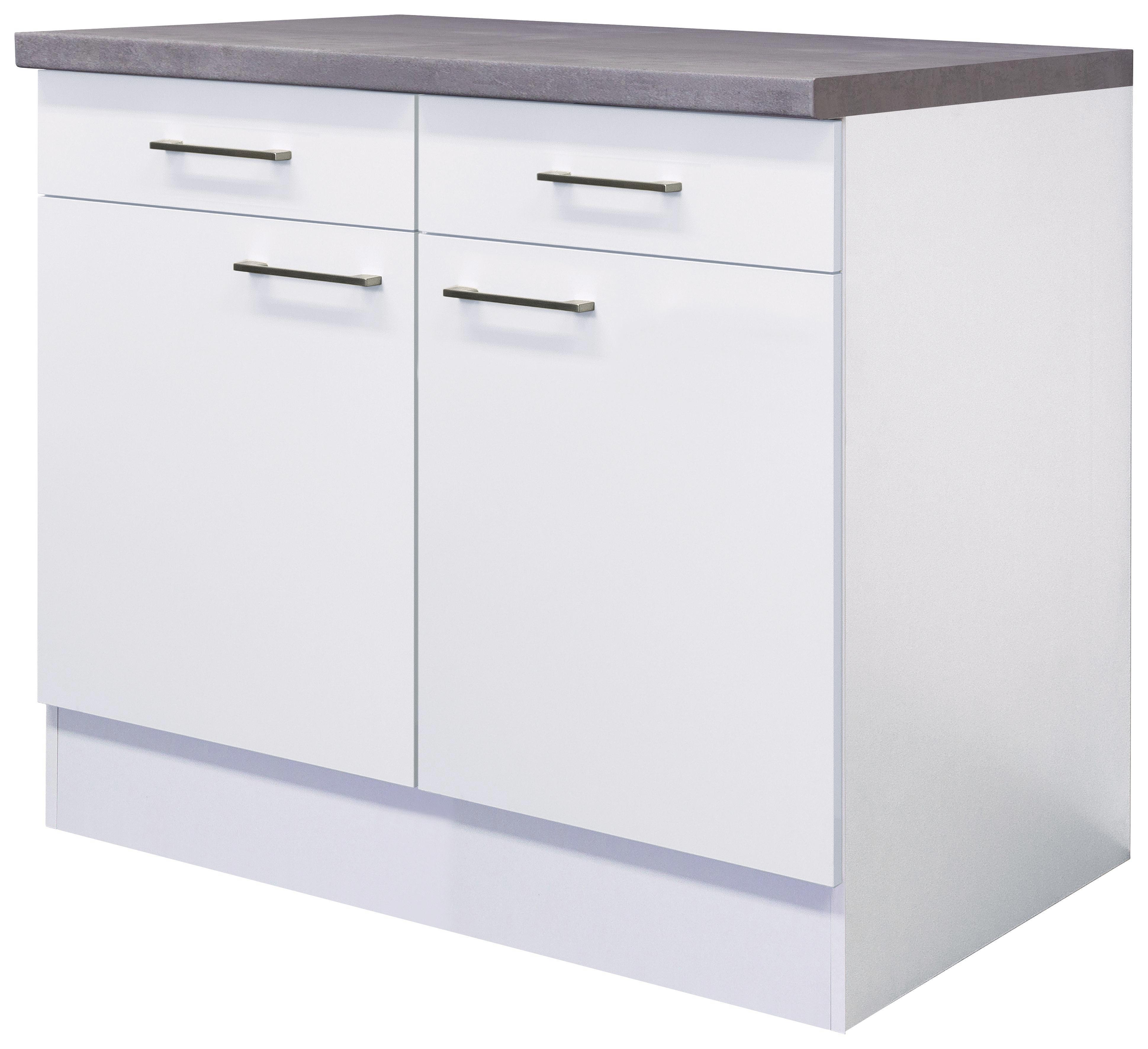 Küchenunterschrank In Weiß   Edelstahlfarben/Weiß, MODERN,  Holzwerkstoff/Metall (100/ Design Ideas