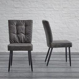 Stuhl Zoey - Dunkelgrau, MODERN, Textil/Metall (51/93,5/61cm) - Modern Living