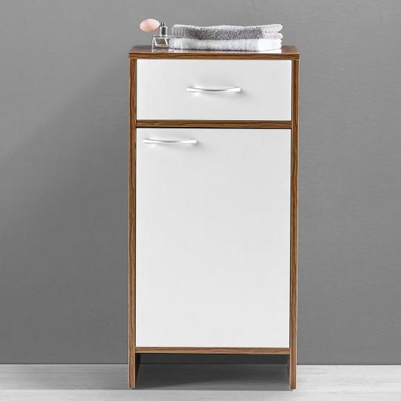 UNTERSCHRANK Weiß/Kieferfarben 'Milano' - Weiß/Kieferfarben, MODERN, Holz/Metall (40/80/30cm) - Bessagi Home