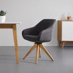 Armlehnstuhl in Grau 'Leonie' - Eichefarben/Grau, MODERN, Holz/Textil (60/84/61cm) - Bessagi Home