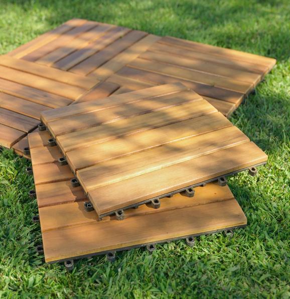 Terrassenfliese Arosa Akazienholz - Naturfarben/Akaziefarben, Holz/Kunststoff (30/30/2,4cm) - Zandiara