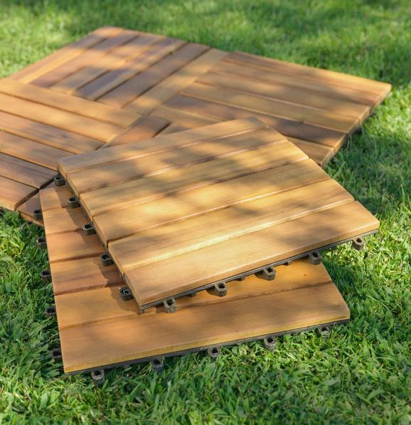 Terrassenfliese Arosa in Akazienholz - Naturfarben/Akaziefarben, Holz/Kunststoff (30/30/2,4cm) - Zandiara
