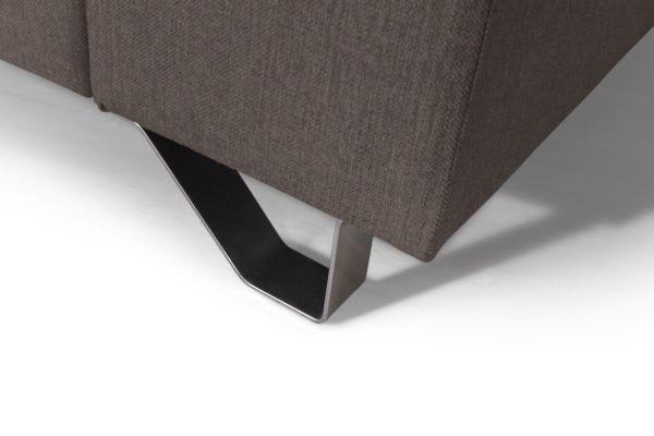Wohnlandschaft Braun mit Bettfunktion - Silberfarben/Braun, MODERN, Textil/Metall (280/196cm)