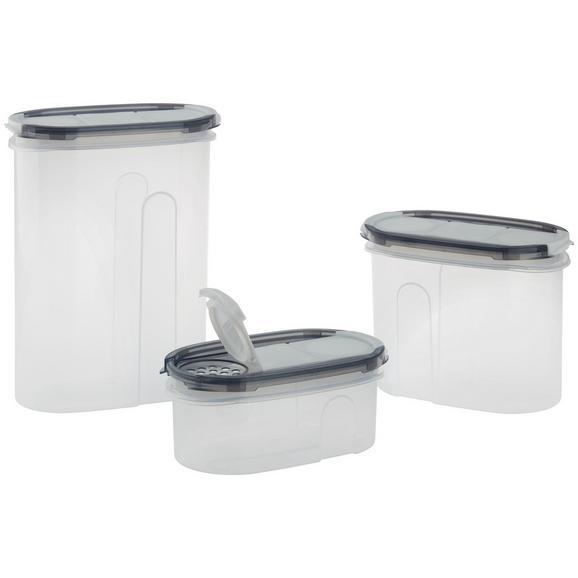 Schüttdose Lucy aus Kunststoff 3-teilig - Klar/Weiß, KONVENTIONELL, Kunststoff