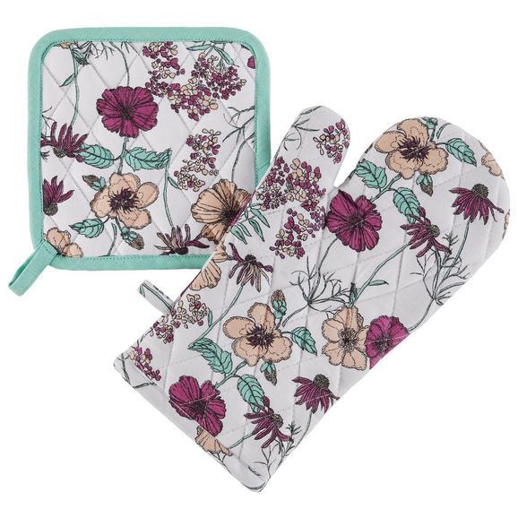 Topflappen und Handschuh Flowerfield 2-teilig - Weiß, ROMANTIK / LANDHAUS, Textil (18/32cm) - Modern Living