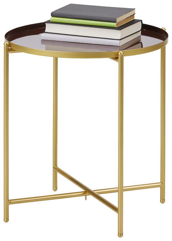 Beistelltisch Braun/goldfarben - Goldfarben/Braun, MODERN, Metall (42/45cm) - Modern Living