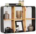 Wandregal Natur/Schwarz - Schwarz/Naturfarben, MODERN, Holz/Metall (41/59/10cm) - Modern Living