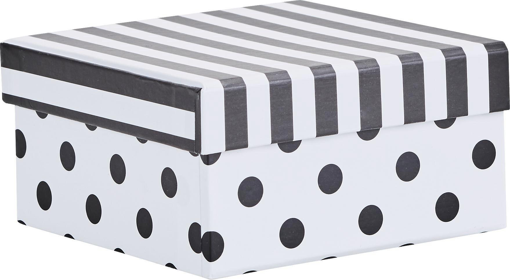 Ajándékdoboz Geomatric - fekete/fehér, papír (12,3/8,3/5cm) - MÖMAX modern living