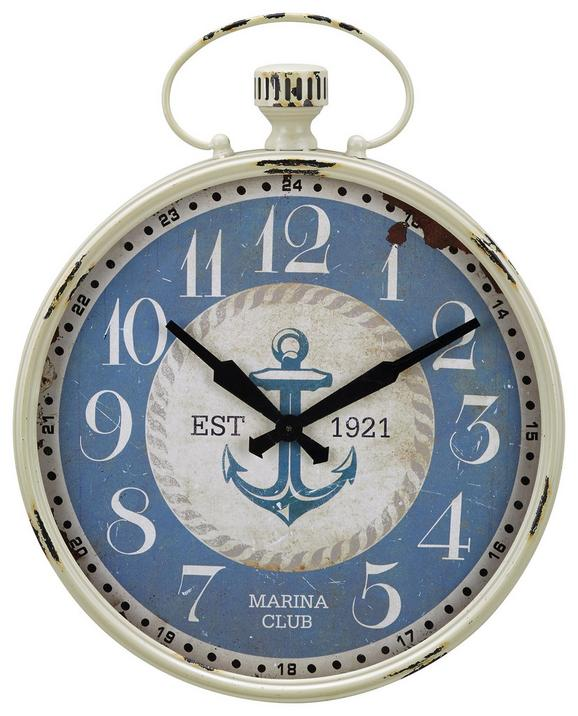 Wanduhr Sailaway Blau/Weiß - Blau/Weiß, Glas/Holz (48/60cm) - Mömax modern living