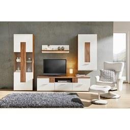 Wohnwand Weiß/Eichefarben   Klar/Chromfarben, MODERN, Glas/Holzwerkstoff  (280
