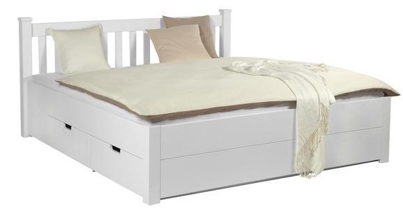 Bett Weiß 140x200cm - Weiß, ROMANTIK / LANDHAUS, Holz/Holzwerkstoff (140/200cm) - ZANDIARA