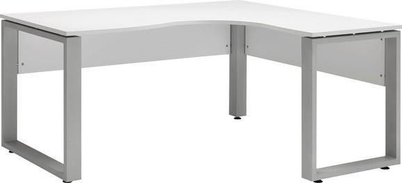 Eckschreibtisch in Weiß - Alufarben/Weiß, MODERN, Holzwerkstoff/Metall (160/75/140cm) - Mömax modern living
