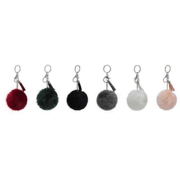 Schlüsselanhänger Pom in verschiedenen Farben - Dunkelgrün/Hellrosa, Kunststoff/Metall (8.5/16cm)