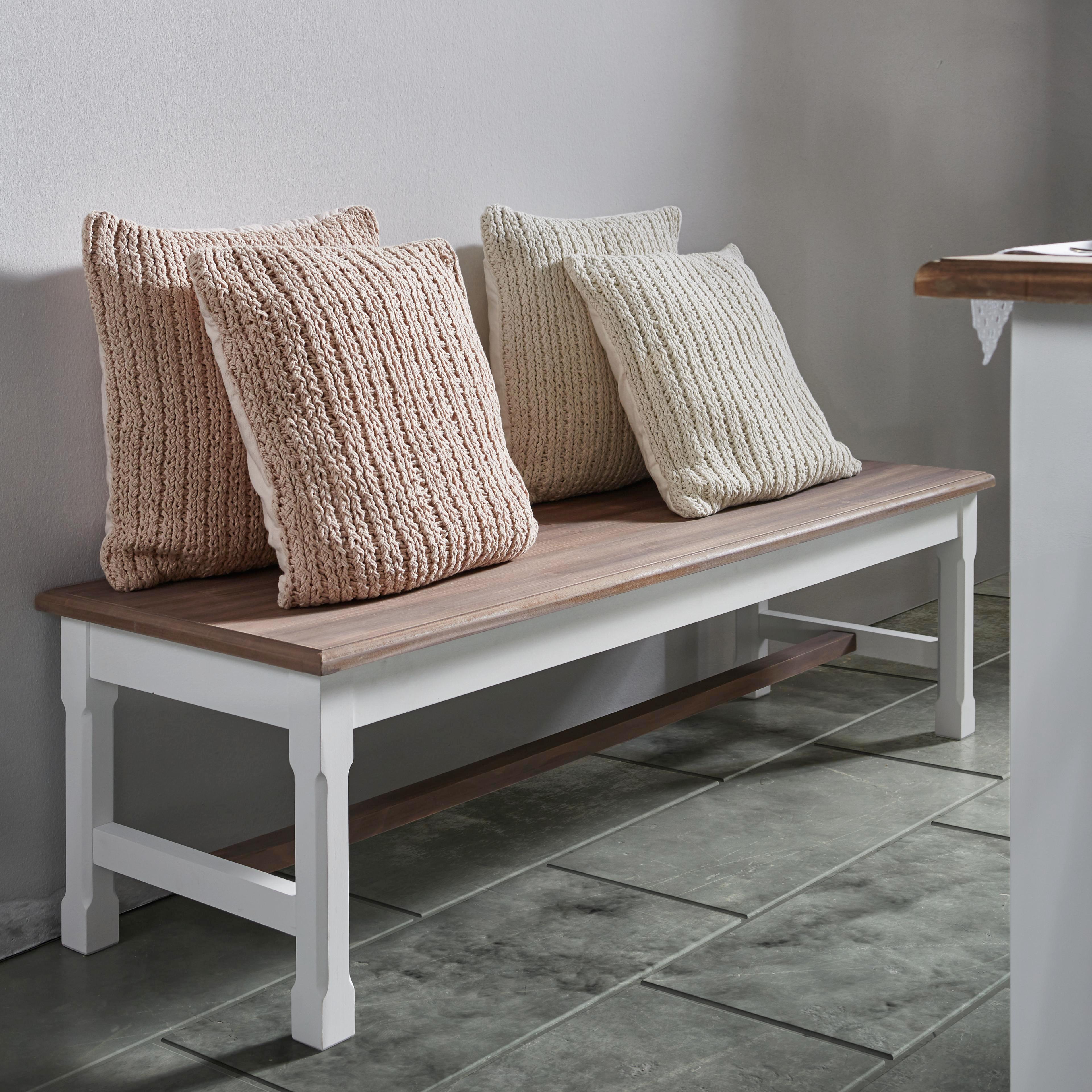 Sitzbank Cookie - Naturfarben/Weiß, ROMANTIK / LANDHAUS, Holz (140/40/45cm) - MODERN LIVING