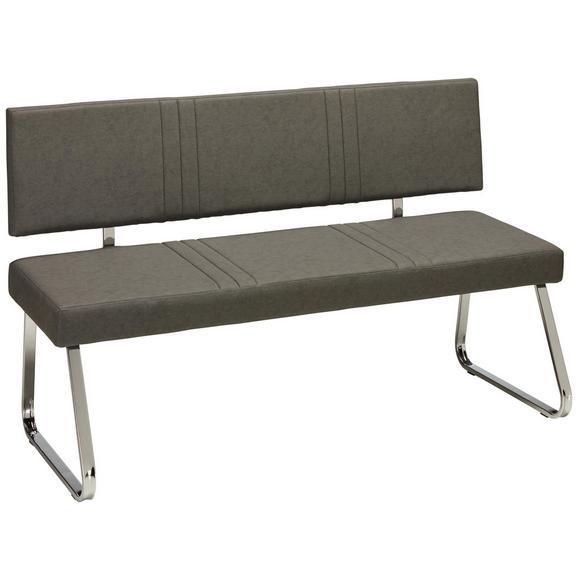 Sitzbank in Grau - Chromfarben/Grau, MODERN, Textil/Metall (140/84,5/57cm) - Mömax modern living