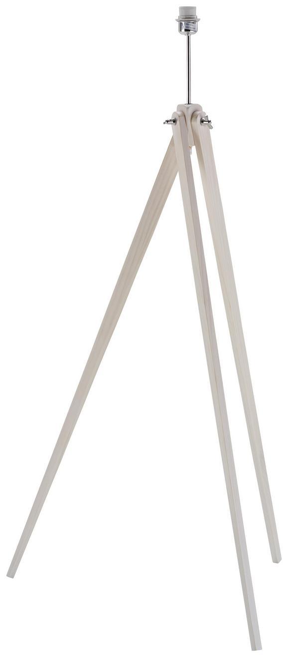 Leuchtenfuß Wood in Weiß/chrormfarben - Chromfarben/Weiß, Holz/Metall (50/50/140cm) - Mömax modern living