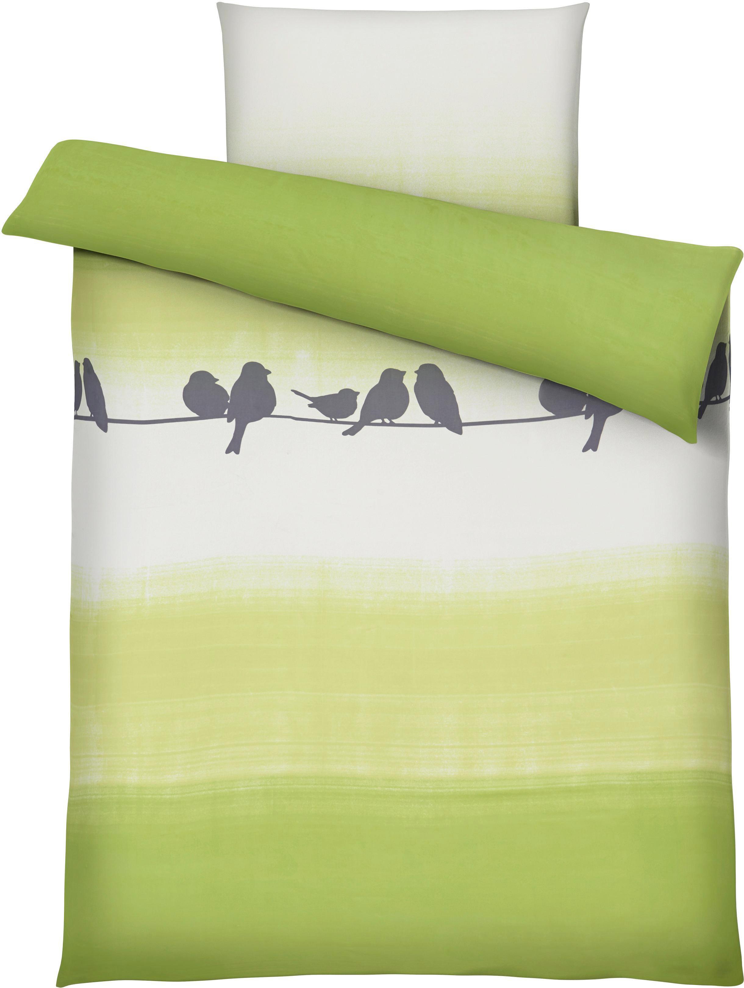 Bettwäsche Spatz in Grün ca. 135x200cm - Türkis, Textil (135/200cm) - MÖMAX modern living