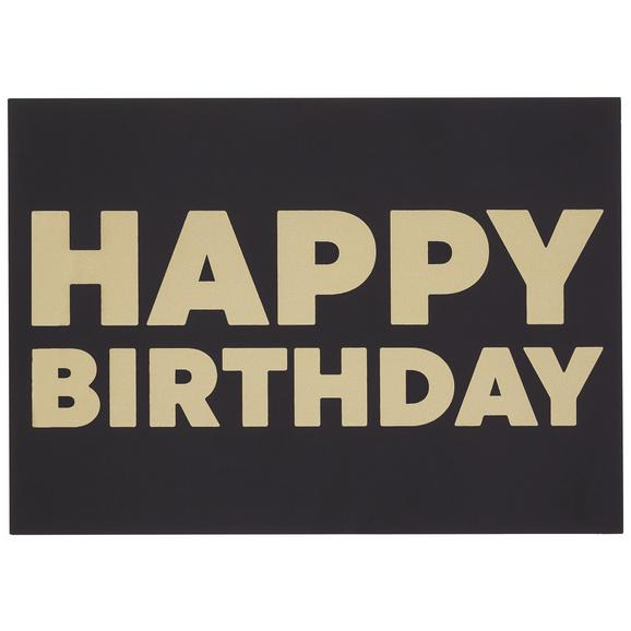 Postkarte Happy Birthday - Goldfarben/Schwarz, MODERN, Papier (14,8/10,5cm)