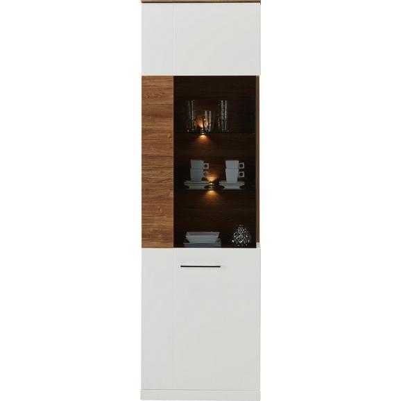 Vitrine in Weiß Hochglanz - MODERN, Holz (60/202/40cm) - Premium Living