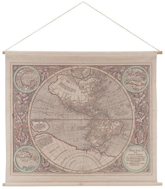 Wanddeko World-map in Natur - Naturfarben, LIFESTYLE, Holz/Textil (124/106/2,5cm) - MÖMAX modern living