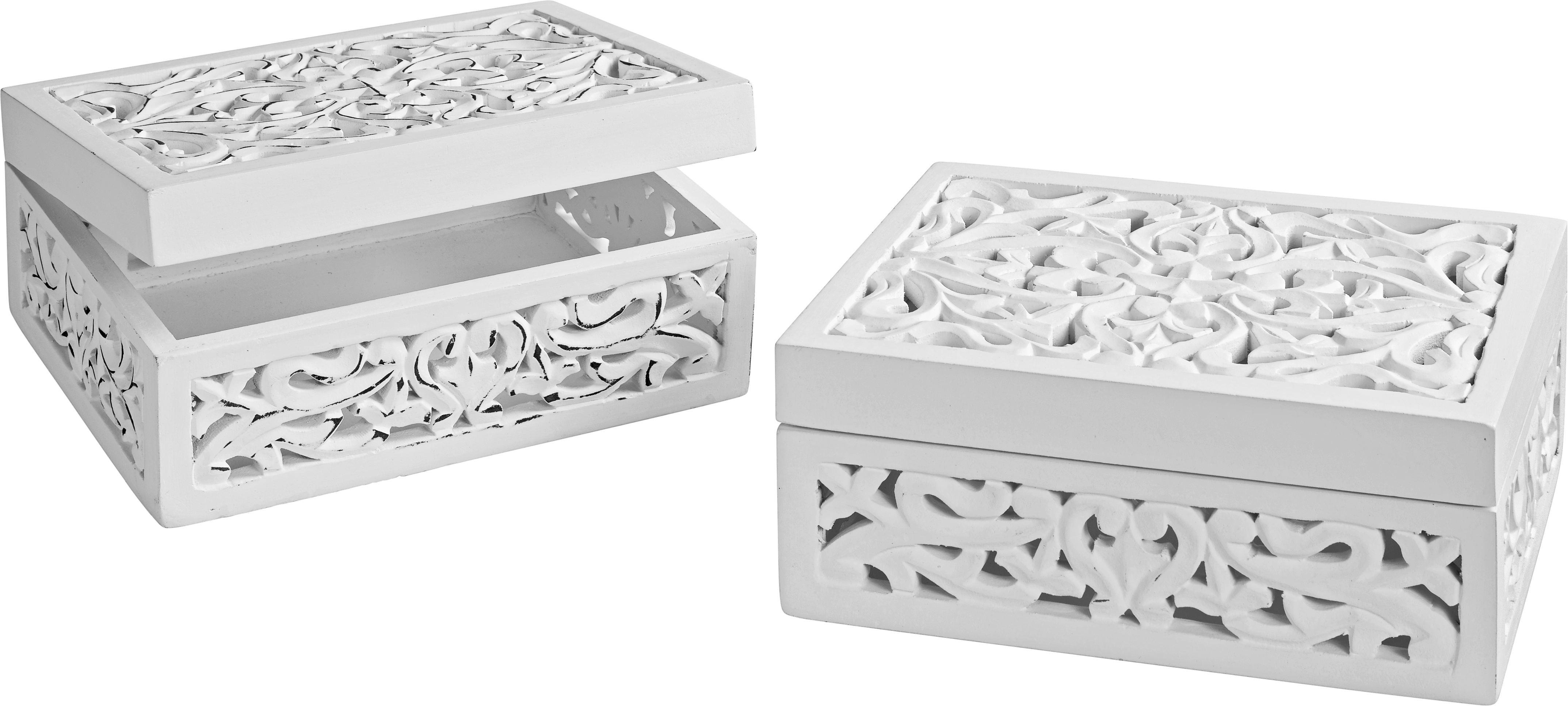 Dekobox Krishna aus Echtholz - Weiß, ROMANTIK / LANDHAUS, Holz/Holzwerkstoff (25/20/10cm) - MÖMAX modern living