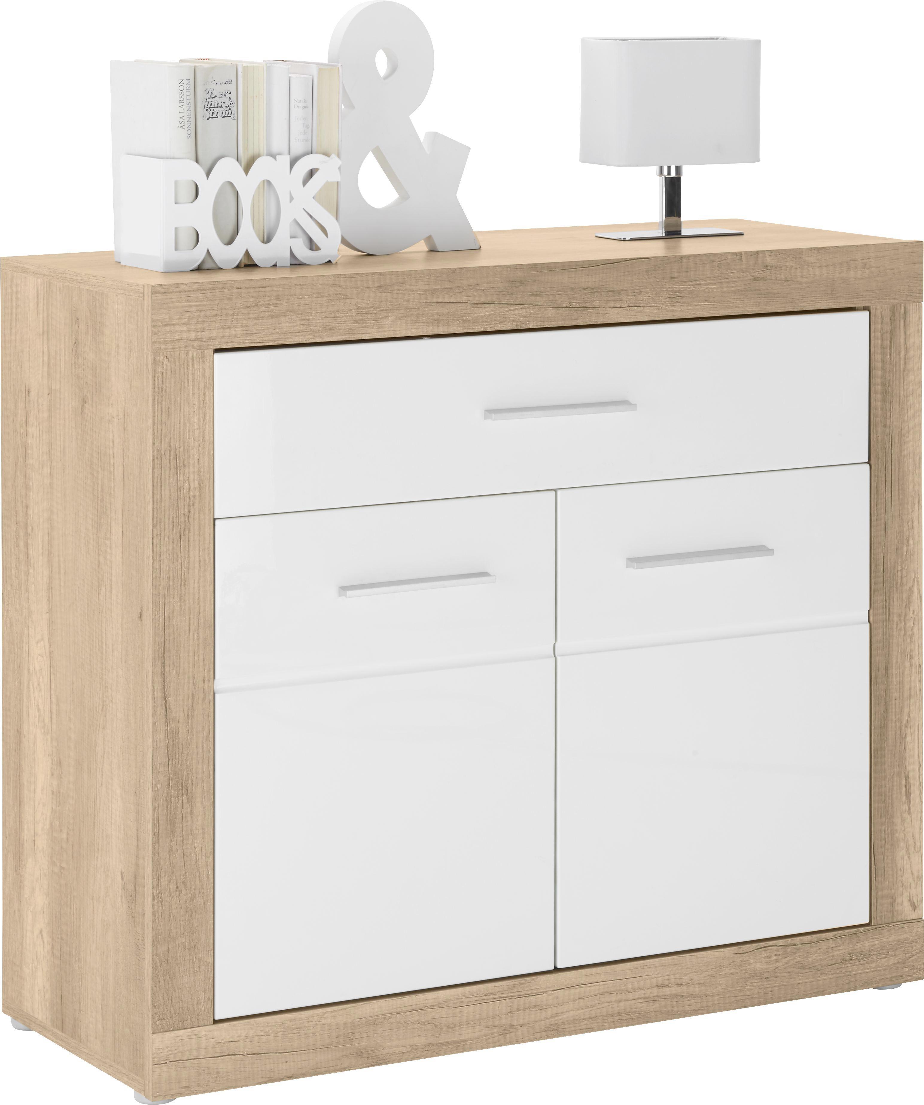 Kommode in Weiß/canyon Grey - Chromfarben/Weiß, MODERN, Holzwerkstoff/Kunststoff (96/86/40cm) - MÖMAX modern living